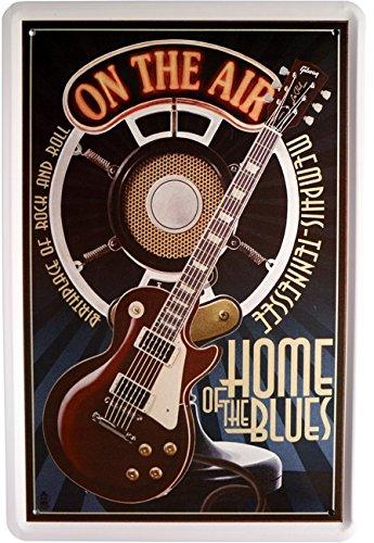 Blechschild Musik Gitarre Home of the Blues 20 x 30cm Reklame Retro Blech 850