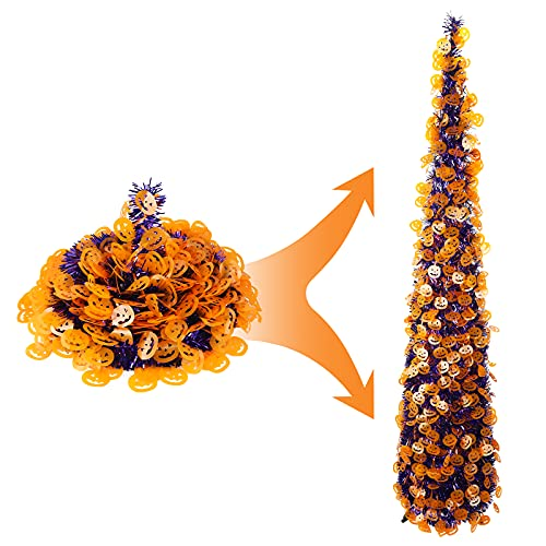 Tabletop Halloween Christmas Tree with Reflective Pumpkin Sequins