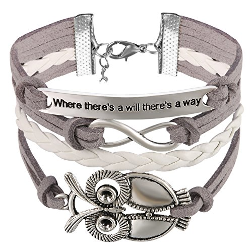 JewelryWe Schmuck Leder Freundschaftsarmband, Vintage Where There\'s a Will There\'s a Way große Eule Infinity Unendlichkeit Zeichen Charm Armband Armreif Wickelarmband, Grau Weiß Silber