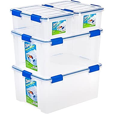 Ziploc 4-Piece Extra Small/Large Deep Weathertight Storage Box Container Set