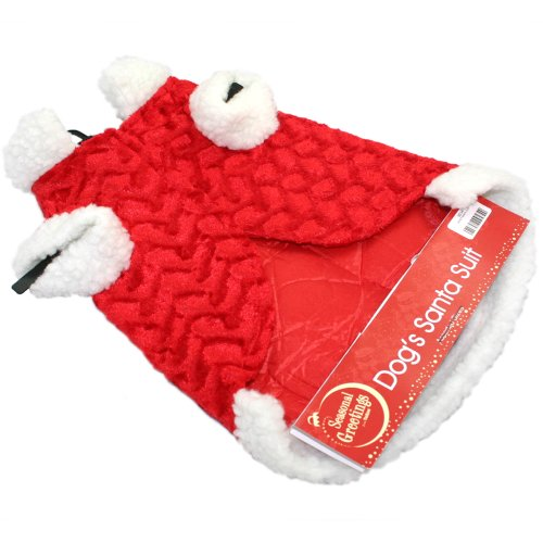 LUXURY PET DOG SANTA SUIT CHRISTMAS COAT OUTFIT COSTUME FANCY DRESS NOVEL GIFT