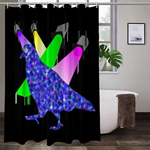 Duschvorhang mit Tauben-Spiel-Ping-Pong-Mond-Augen, wasserdicht, buntes Muster, 152,4 x 182,9 cm
