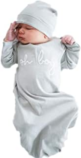 Baby Be Mine Newborn Gown and Hat Set Layette Romper Coming Home Outfit (Newborn, Oh Boy!)