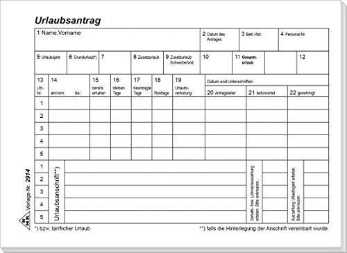 RNK 2914 - Urlaubs- und Freistellungsantrag - Block, 50 Blatt, DIN A6 quer, 1 Stück