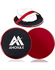 Amonax Core Sliders, dubbelzijdige glijschijven met riemen. Ab Gliders voor Core Exercise Fitness in Gym & Home, Dual Side Slider Sterkte Glider Paren voor tapijt, Hout, tegelvloer