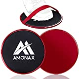 Amonax Fitness Sliders, Double-Sided Sliding Disc, with Straps for Fitness Exercises in The Gym And at Home Suitable for Carpets, Floors And Wooden Tiles