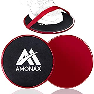 scheda amonax fitness sliders, double-sided sliding disc, with straps for fitness exercises in the gym and at home suitable for carpets, floors and wooden tiles