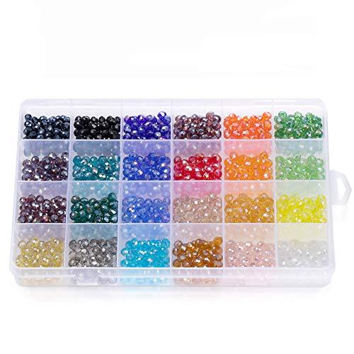 Wodasi 1200Pcs 6mm Perline Cristallo Sfaccettato, Perline in Cristallo, Perline in Vetro Sfaccettato, Perline di Vetro AB Sfaccettate per Braccialetti, Collane, Gioielli, Progetti Fai da Te