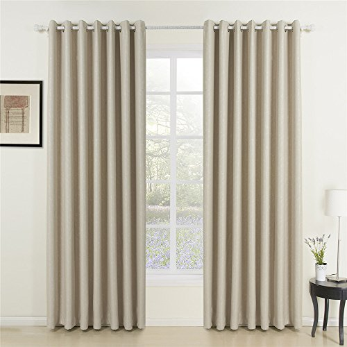 """IYUEGO Classic Beige Curtain Solid Room Darkening Grommet Top Curtain Drapery Embossed Curtain with Multi Size Customs 100"""" W x 102"""" L (Set of 1)"""