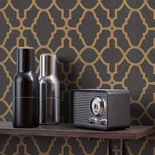 NEWROOM Tapete grafisch braun Muster Tapeten der 50er Art Deco Papiertapete gold Papier Tapete Luxus Glamour inkl. Tapezier Ratgeber ǀ Grafik