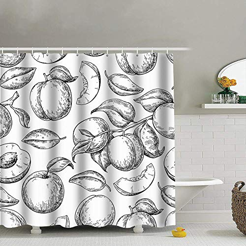 Duschvorhänge/Badvorhänge, Apricot Drawing Hand Food and Drink Peach Shower Curtain Set, Relaxing Summer Landscape Bathroom Decor,Shower Curtain Set Waterproof 60X72 Inch
