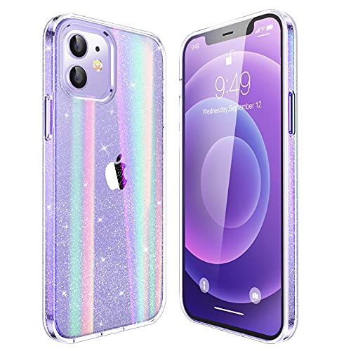 """Humixx Crystal Glitter Designed for iPhone 12/12 Pro Case for Girl Women, Shining Case [Not Yellow] [Military Grade Drop Tested] Shockproof Protective Clear 12 Case Slim Fit (6.1"""") -Twinkle Stardust"""