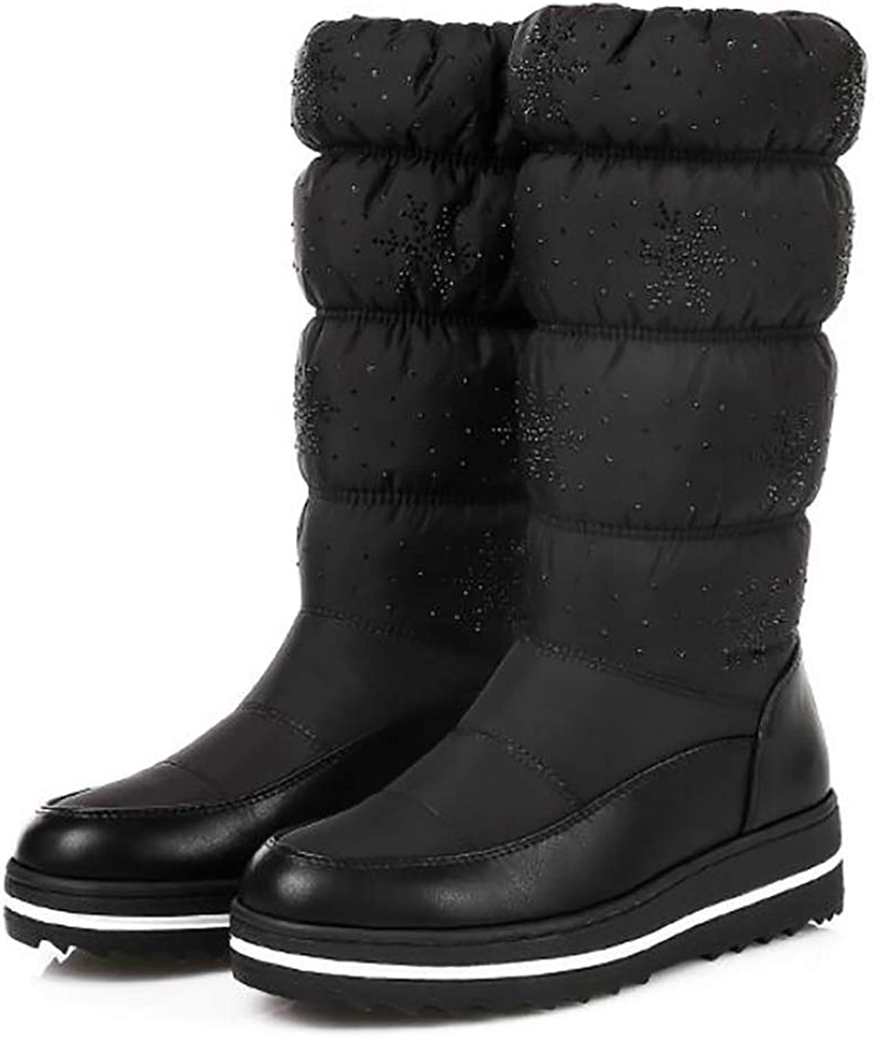 Women's Casual Snow Boots Winter Keep Warm Thicken Cotton Flat shoes Wedges Platform Mid-Calf Boots,Black,36