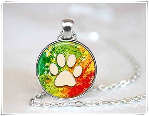 Beautiful Dandelion Hermoso Colgante de Diente de León con Diseño de Huella de Perro y Gato Collar de Animal