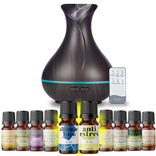 MEVA DIFUSOR de Aceite Aromas Esencial aromaterapia con 10 esencias de Regalo, ULTRASONICO,humificador de Aceite Esencial (Color...