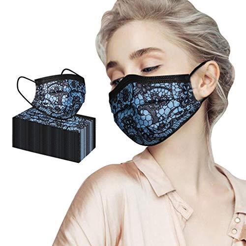 N/S Erwachsene_Masken_Mundbedeckung für Damen Herren, Schnüren Drucken Einmalgebrauch Plissee Nasenschutz für Drinnen und Draußen, Nasen und Lippen Schutz, 50er Pack, Blau