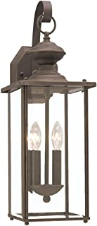 Sea Gull Lighting 8468-71 Jamestowne Two-Light Outdoor Wall Lantern with Clear Beveled Glass Panels, Antique Bronze Finish