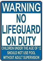 アルミニウム金属看板おかしな警告義務の子供にはライフガードなしプールスタイルを使用しない有益な目新しさ壁アート垂直
