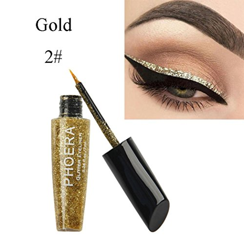 Moonuy 10 Couleurs Eyeliner Liquide Glitter Shimmer Impermeable et Maquillage Eyeshadow Liquid Shimmer Pigment Silver Gold Metallic Liquid Glitters Eyeliner Ombre à Paupières (B)