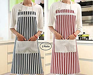 Naranqa Fashion Kitchen Ladies Apron for Woman with Pockets Cotton and Oil Anti-fouling Clean Waterproof Sleeveless Aprons with Pocket (2 Packs Dark Blue & Red Stripes)