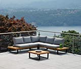 Greenwood Set Stoccarda compuesto por sofá de esquina de 6 plazas, mesa auxiliar