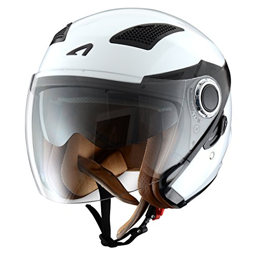 Astone Helmets fibra, Casco Jet, color Gloss Blanco, talla S
