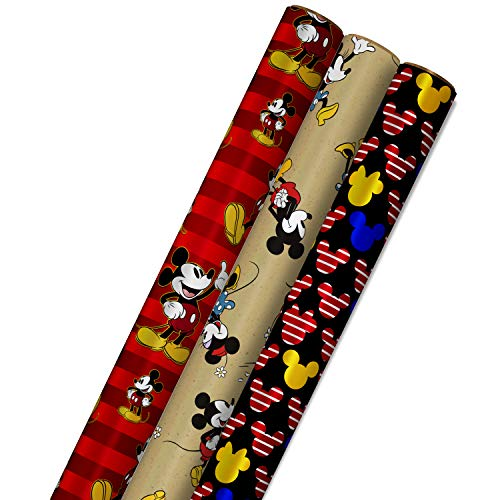 Hallmark Disney Mickey Mouse Wrapping Paper with Cut Lines on Reverse (3-Pack: 60 sq. ft. ttl) for Birthdays, Christmas, Hanukkah, Baby Showers and More