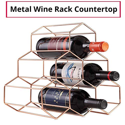 imusicat Countertop Wine Rack Table-Top - Sturdy, Lightweight, Simple Yet Chic Design - Fits Standard Bottles - Stackable Wine Racks Countertop Metal for Small Space, Kitchen (Rose Gold)