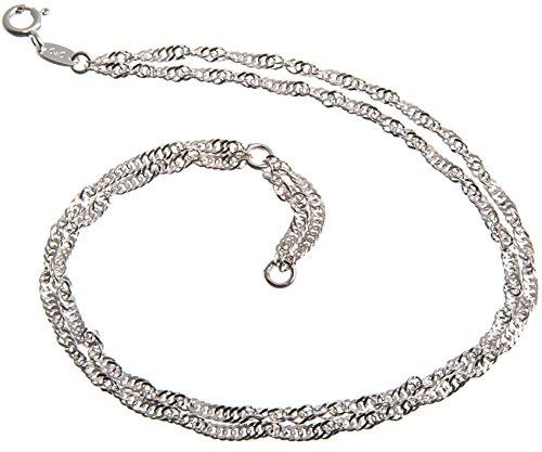 Fußkette Silber 2reihig (Singapurkette) - 2,3mm Breite, Länge 23-30cm, echt 925 Silber