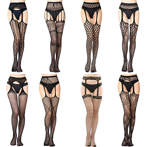FEPITO 8 Pairs Fishnets Stockings Mesh Thigh High Pantyhose High Waist Fishnet Tights for Women (8 Colors)