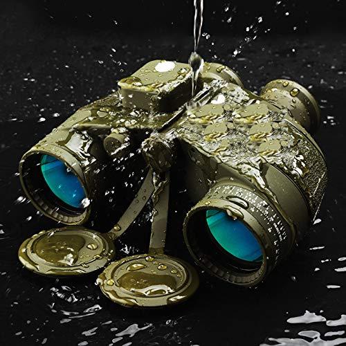 Telescope Militari Binocoli Professionale Potente, Compatto 10x50 Binocolo con Bussola Che Misura Direzione per Caccia Marina Pesca L'osservazione degli Uccelli,ArmyGreen