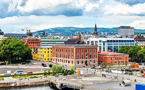Puzzles para Adultos Rompecabezas de 500 Piezas Educativo Intelectual Descomprimiendo Juguete Divertido Juego Familiar Centro de la Ciudad de Oslo, Capital de Noruega