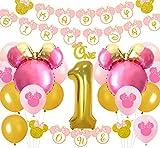 Kreatwow Minnie 1st Birthday Decorations Pink and Gold One Guirnalda Happy Birthday Banner Gold Glitter Cake Topper para primeros suministros de fiesta de cumpleaños para niña