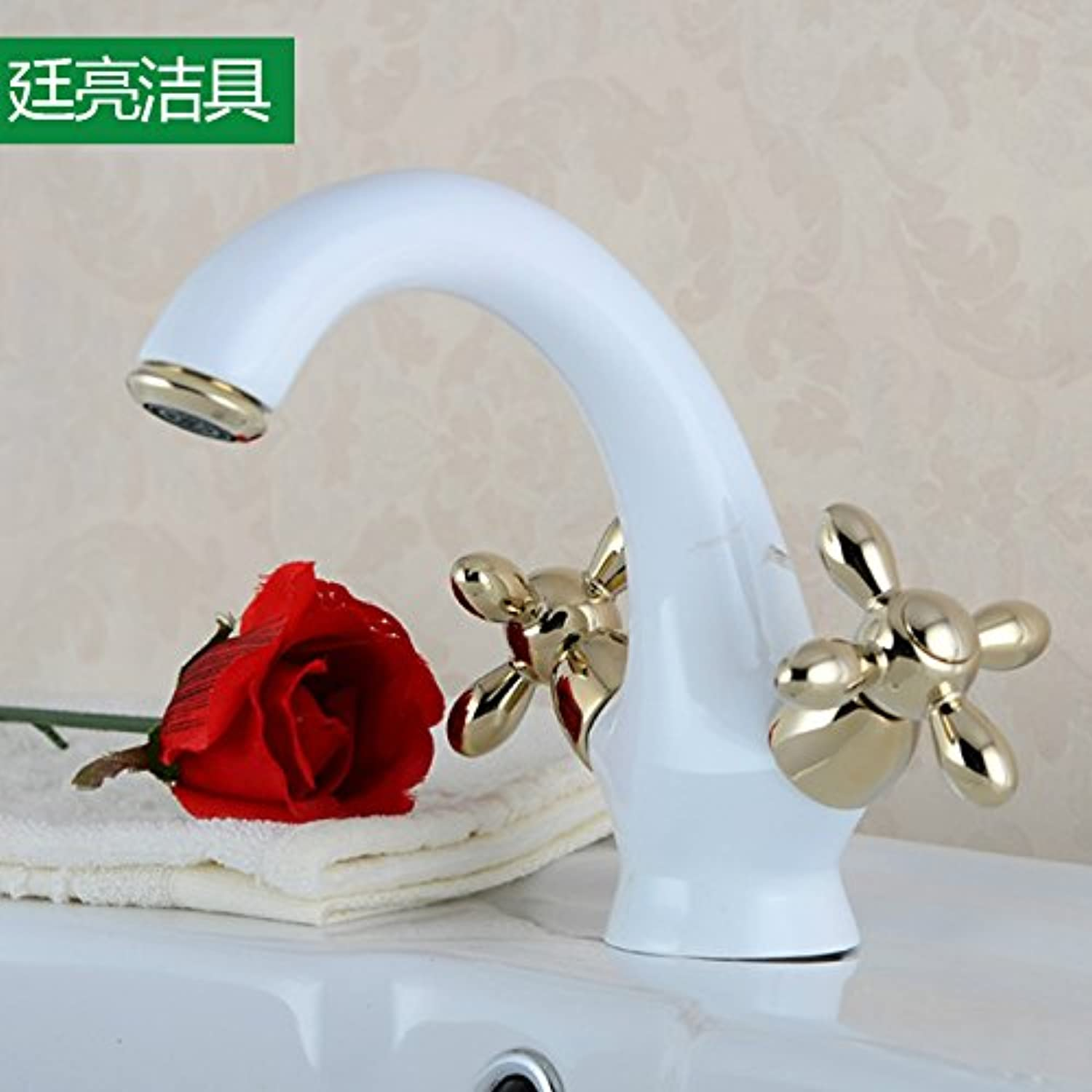 Ddlli Bathroom Taps for Kitchen Sink Tap Shower F6Cold Water Grippers Hands Turn Hot and Cold Water Roasting color-Wheel White gold Round Horns