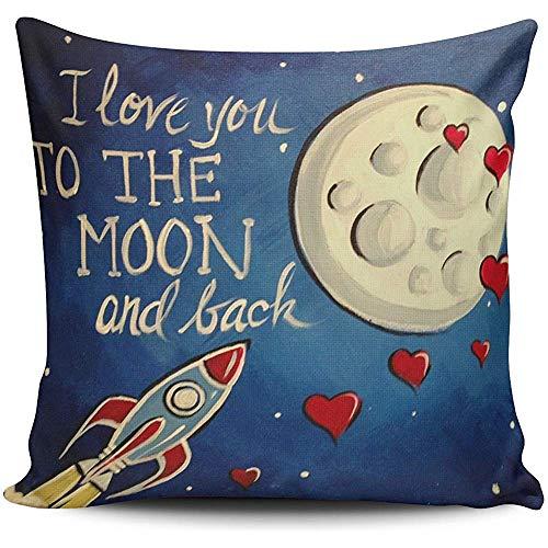 Kussenslopen, warm ik hou van je naar de maan en terug raket stuur mijn liefde naar linda u liefde sterren stip blauwe cartoon vierkante kussensloop twee zijden bedrukt gooien kussensloop cover 45x45Cm