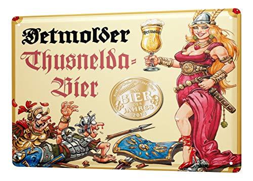 LEotiE SINCE 2004 Blechschild Brauerei Bier Küchen Deko Detmolder Pilsner Römer Kriegerin Metallschild 20X30 cm