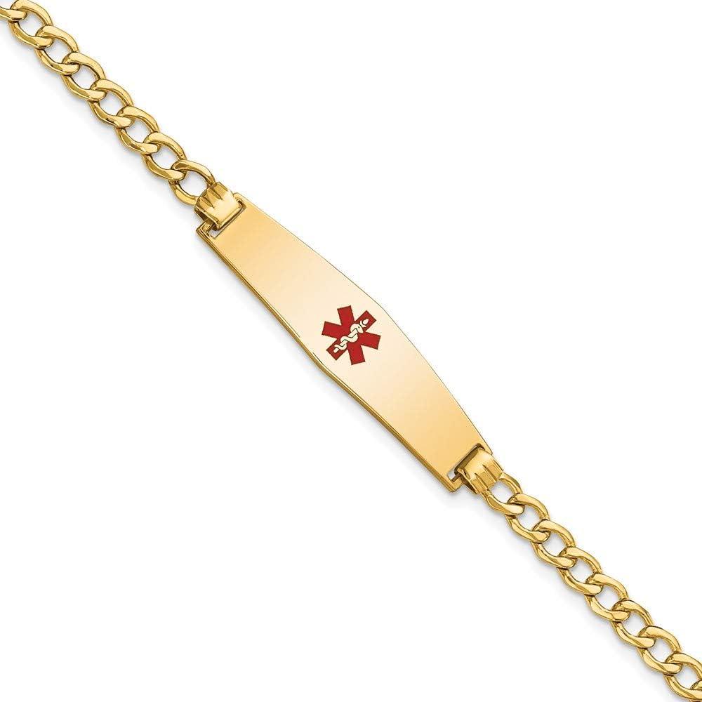 14k Yellow Gold Medical Soft Diamond Shape Red Enamel Curb Link 6.75mm Id Bracelet