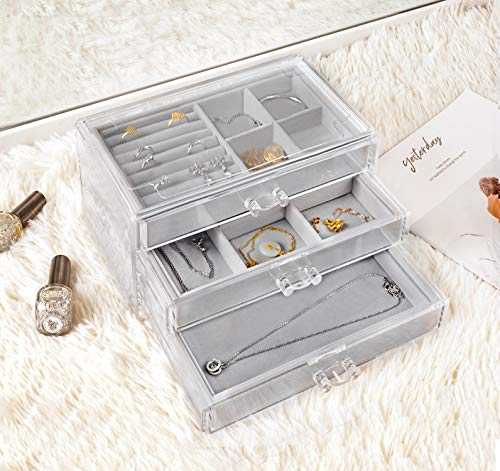 ジュエリー収納HBLIFEジュエリーボックスアクセサリーケース透明アクリル制宝石箱ネックレス指輪贈り物プレゼント