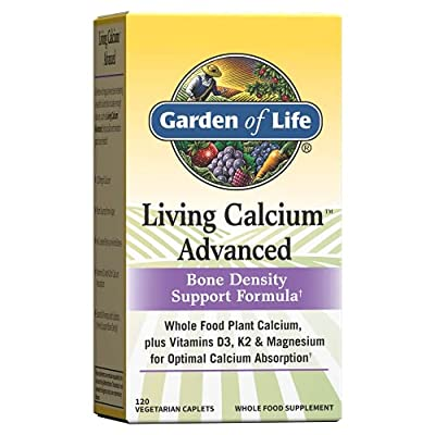Garden of Life Living Whole Food Plant Calcium Plus Advanced Bone Density Support Formula Supplement, 1000mg Vitamins D3, K1 and Magnesium for Absorption, 120 Count