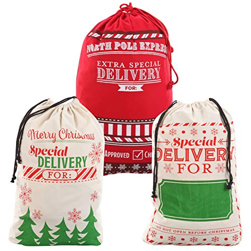 3 Packs Christmas Gift Bags, Santa Burlap Sack with Drawstring 26' x 19' for Large Xmas Package Storage,Christmas Large Gift Bags
