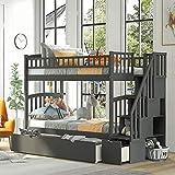 MWKL La litera más Nueva de Dos Camas Individuales con escaleras y cajones, litera Convertible de Madera Maciza, Muebles de Dormitorio para niños