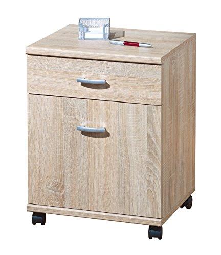 Links 19300080 Rollcontainer Bürocontainer Büromöbel Büro Rollwagen Schublade Tür, 2,5 x 37,5 x 57,5cm,Sonoma Eiche