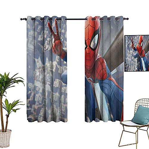 Rideau en verre occultant et isolant thermique, motif super-héros, motif Spider_man, 213,4 x 137,2 cm