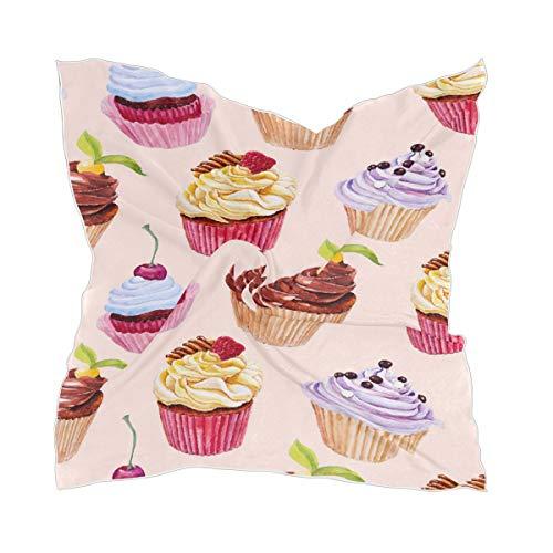 XiangHeFu Lichtgewicht hoofdtooi zijden sjaal schattig patroon Kleurrijke cupcakes hoofddoek blote chiffon hoofddoek
