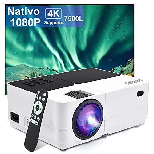 Proiettore Portatile Nativo 1080P 7500 Lumen Mini Proiettore Supporta 4K Full HD Home Theater, Mini Videoproiettore 50000 Ore LCD HiFi Altoparlante, Compatibile con Cavo AV/Telecamera/PC/PS4/USB/HDMI