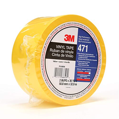 3M Vinyl Tape 471, 2 in x 36 yd, Yellow, 1 Roll, Paint Alternative for Floor Marking, Social Distancing, Color Coding, Safety Marking
