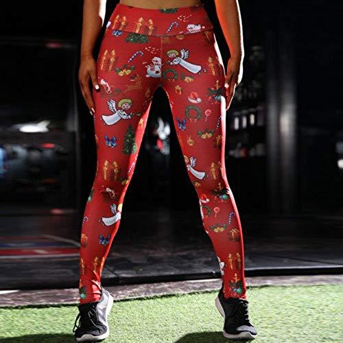 FANGNVREN Yoga Broek, Hoge Elastische Fitness Sport Leggings Panty Slim Running Sport Broek Vrouwen Kerst Gedrukt Hoge Taille Yoga Broek Training Broek Panty