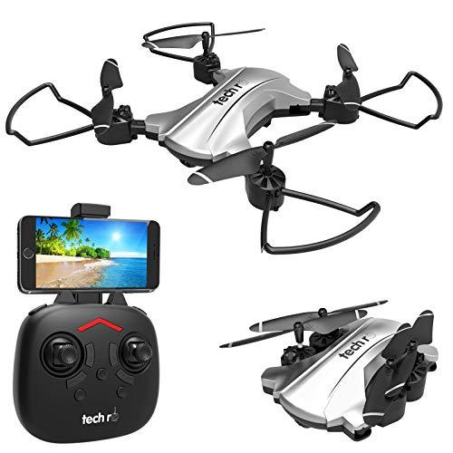 tech rc Drone con Telecamera HD 720P Drone Pieghevole WiFi FPV...