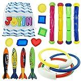 JOYIN Underwater Swimming/Diving Pool Toy Rings (4) Sticks (4) Toypedo Bandits(4 Pcs) with Under Water Treasures Gift Set Bundle