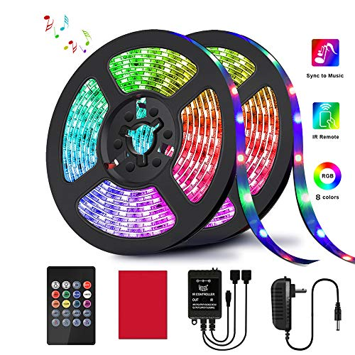 LED Strip Lights, HRDJ Light Strip RGB 32.8FT/10M 20Key, Music Sync Color Changing, Rope Light 600 SMD 3528 LED, IR Remote Controller Flexible Strip for Home Party Bedroom DIY Party Indoor (2x16.4ft)